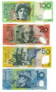 Australian banknotes set of four dollars in and value isolated on white background Stock Image