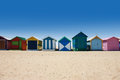Australian bathing boxes at Brighton beach Royalty Free Stock Image