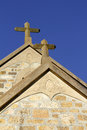 Australian church stone crusifixes tower above a in south australia Stock Images