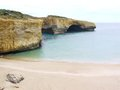 Australian collapsed london bridge the beach of arch withe the cracked in the port campbell national park in australia Stock Photos