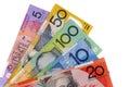 Australia money, various Australian dollar bills isolated on white background Royalty Free Stock Photo