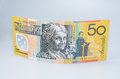 Australian Fifty Dollar Banknote Standing Up Royalty Free Stock Photo