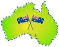 Australian flag australia map Royalty Free Stock Photo