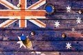 Australian flag painted on old weathered boards Royalty Free Stock Photo
