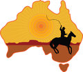 Australian horseman a stylized map of australia with a silhouette of a rancher or cowboy sitting on a horse with a whip in his Stock Photography