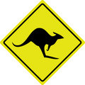 Australian Kangaroo Roadsign Royalty Free Stock Photo