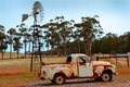 Australian landscape a wind driven water pump in south australia Stock Photography