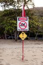 Australian marine stinger warning sign an queensland Stock Images