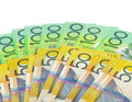 Australian money banknotes white surface Royalty Free Stock Photos