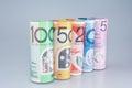 Australian Money  Denominations Rolled Royalty Free Stock Photo