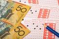 Australian money and sports betting slip closeup of aussie Stock Images