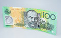 Australian One Hundred  Dollar Banknote Standing Royalty Free Stock Photo