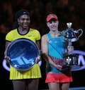 Australian open finalist serena williams l and grand slam champion angelique kerber during trophy presentation melbourne australia Royalty Free Stock Photography