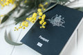 Australian passport with wattle Royalty Free Stock Photo