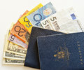 Australian passports and travel currency Royalty Free Stock Photo