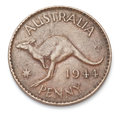 Australian penny on a white background Royalty Free Stock Photography