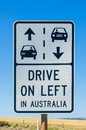 Australian road sign with arrows and drive on left message Royalty Free Stock Photo