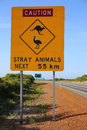 Australian road sign warning in western australia Royalty Free Stock Image