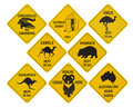 Australian road signs collection Royalty Free Stock Photo