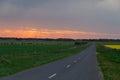 Australian rural road near Ballarat at sunset Royalty Free Stock Photo