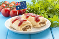 Australian sausage roll food a classic with tomato sauce and flag Stock Images