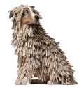 Australian Shepherd puppy covered with clothespins Royalty Free Stock Photography