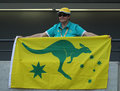Australian sport fan supporting team Australia during the Rio 2016 Olympic Games at the Olympic Park Royalty Free Stock Photo