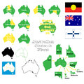 Australian states and flags a set of illustrations Royalty Free Stock Photography