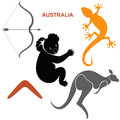 Australian symbols set isolated objects on white background vector illustration eps Stock Images