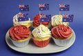 Australian theme red white and blue cupcakes with national flag closeup for australia day anzac day or holiday against a Royalty Free Stock Image