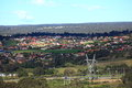 Australian village with landscape view over motorway to an macarthur region nsw Stock Photography