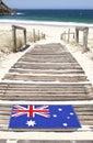 Australia Flag Beach Port Stephens NSW Royalty Free Stock Photo