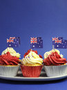 Australisch thema cupcakes met nationale vlag Royalty-vrije Stock Foto