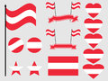 Austria flag set. Collection of symbols, flag in heart. Button and star. Vector Royalty Free Stock Photo