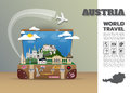 Austria Landmark Global Travel And Journey Infographic luggage.