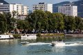 Austria linz the capital of upper in is powerboats urfahr Stock Images