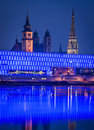 Austria linz lentos museum upper night shot old and new cathedral Royalty Free Stock Photos