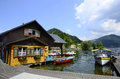 Austria lunz am see boats and coloured home on lake lunzer in lower Stock Photo