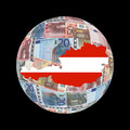 Austria map on euros globe Royalty Free Stock Photo