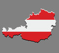 Austria map vector with the austrian flag