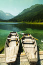 Austria rowboats in a lake in carinthia Royalty Free Stock Image