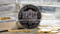 Austria Silver Coin with silver bars & gold coins Royalty Free Stock Photo