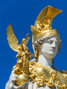 Austria vienna parliament the in with the statue of pallas athena of the greek goddess of wisdom Stock Photography