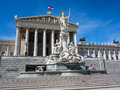 Austria vienna parliament the in with the statue of pallas athena of the greek goddess of wisdom Royalty Free Stock Photos