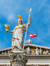 Austria vienna parliament the in with the statue of pallas athene the greek goddess of wisdom Royalty Free Stock Photos
