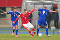 Austria vs faroe islands vienna march marko arnautovic and hallur hansson fight for the ball during the world cup qualifier Stock Photo
