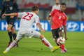 Austria vs montenegro vienna october marko simic and david alaba fight for the ball in an european championship qualifying Royalty Free Stock Image