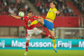 Austria vs sweden vienna june aleksandar dragovic and zlatan ibrahimovic during the world cup qualifier game on june in Royalty Free Stock Photography