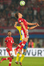 Austria vs sweden vienna june alexander kacaniklic and julian baumgartlinger fight for the ball during the world cup Royalty Free Stock Photos