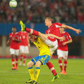 Austria vs sweden vienna june marc janko and rasmus elm fight for the ball during the world cup qualifier game on june in Stock Photos
